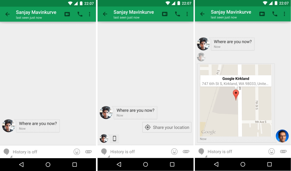 One click location sharing in Hangouts.